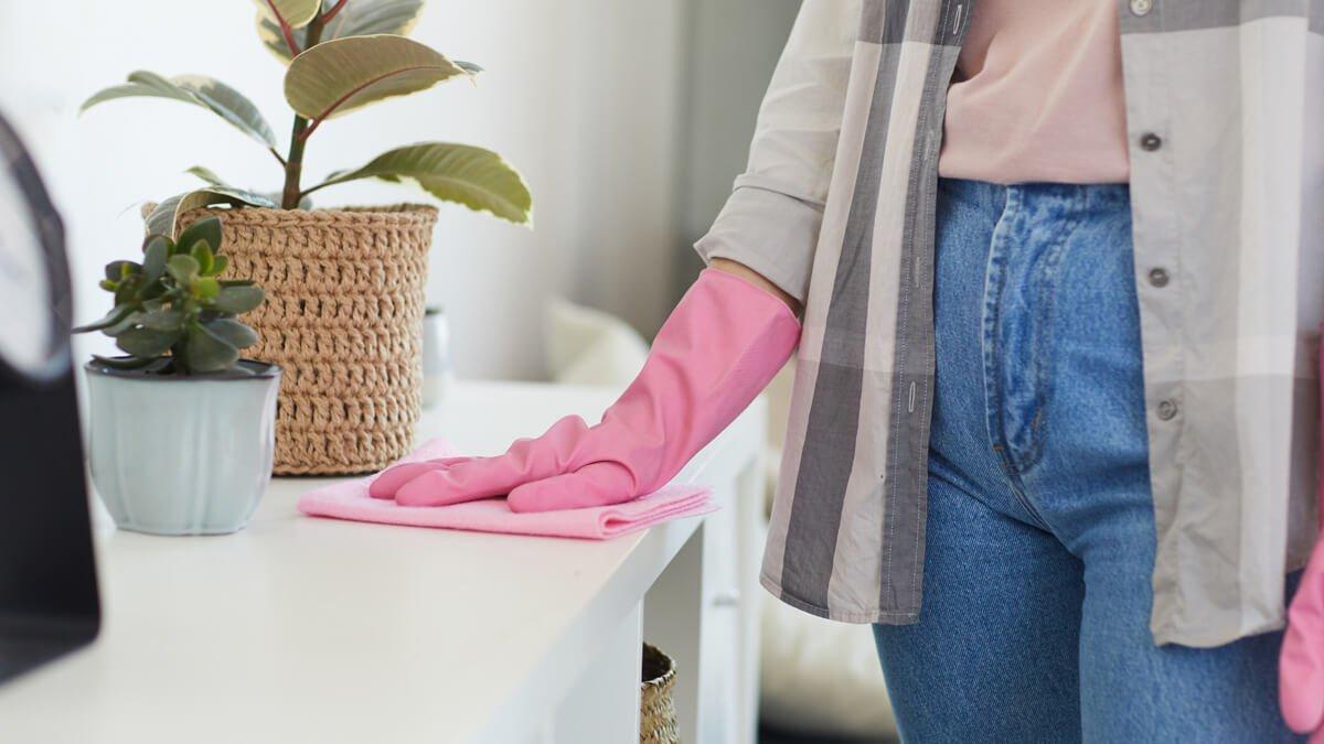 persona desinfectando casa